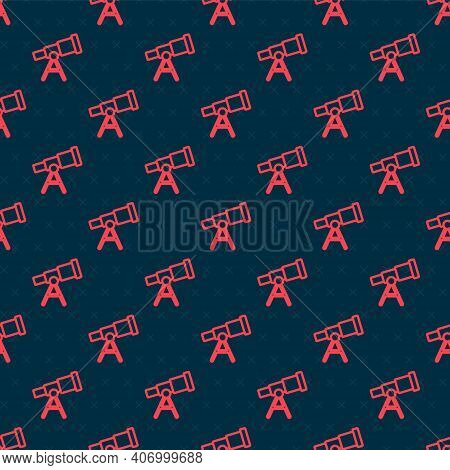 Red Line Telescope Icon Isolated Seamless Pattern On Black Background. Scientific Tool. Education An