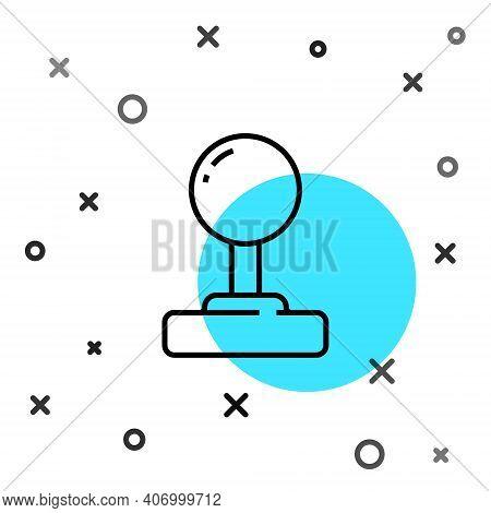 Black Line Joystick For Arcade Machine Icon Isolated On White Background. Joystick Gamepad. Random D