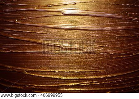 Abstract Plaster Pattern In Gold Tones Close Up