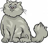 Cartoon Illustration of Cute Gray Long Hair Persian Cat poster