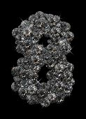 Number 8 in diamonds stacked up on black background poster