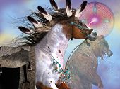 The bear in native American culture symbolized great strenght and power in the horse which was an important part of everyday life of the Indian. poster