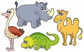 Zoo animal collection 1 in white background - vector illustration. poster
