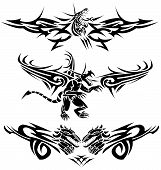 Three tattoos with dragons and some design elements. poster