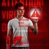 Cyber attack detected on digital interface, digital concept poster