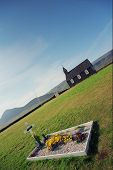 The black church and a greve Iceland. poster