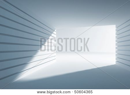 Blue abstract 3d interior with angle of light in modern gate poster