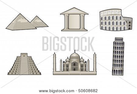 Monuments And Landmarks Illustration
