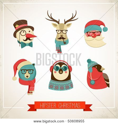 Christmas hipster animals. Vector illustration