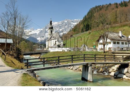 Parish Church St. Sebastian With Reiter Alpe In Ramsau
