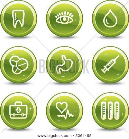 Medicine Web Icons Set 2, Green Glossy Circle Buttons Series