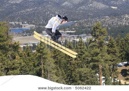 Male Skier In The Air