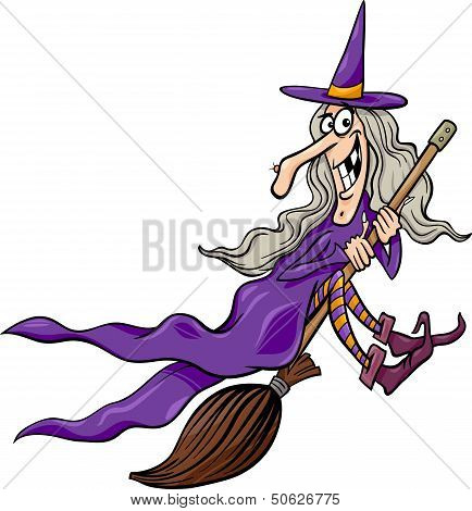 Cartoon Illustration of Funny Fantasy or Halloween Witch Flying on Broom poster