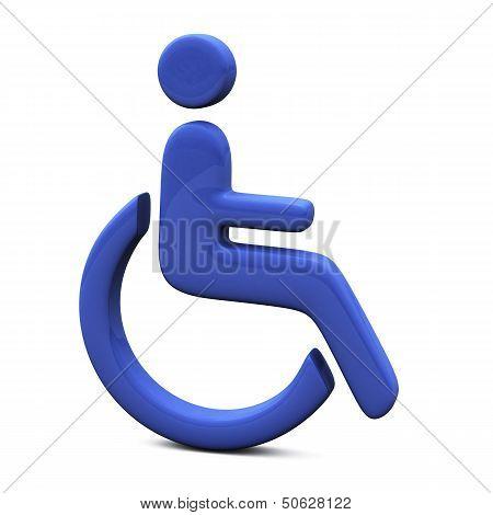 Blue handicap icon, 3d