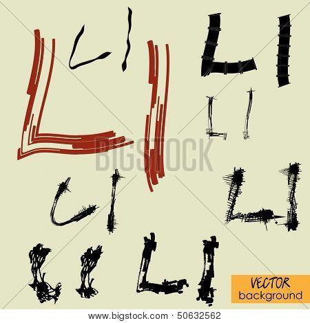 art sketch set of vector character fonts symbols, sign L