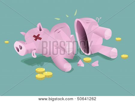 Lost Funds Broken Piggy Bank