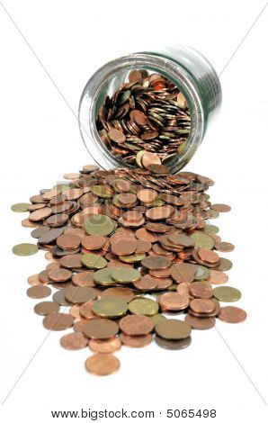 Money Jar With Euro Coins