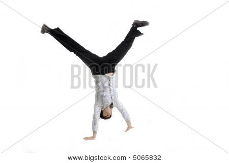 Business Woman Doing A Cartwheel