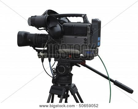 Tv Professional Studio Digital Video Camera Isolated On White