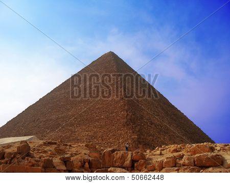 Pyramids Of Cheops In The Desert Of Egypt
