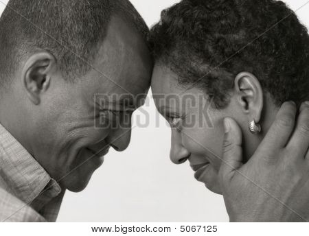 Black And White Portrait Of Husband With Wife African American