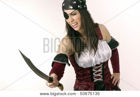 A pirate woman with her blade one eyed wench