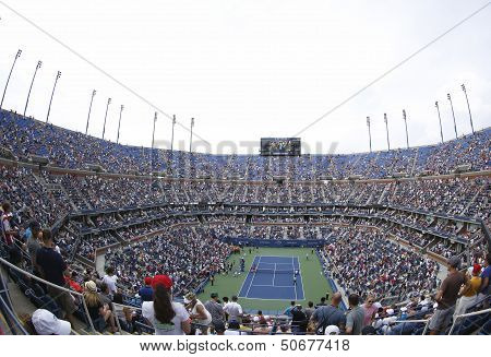 Areal view of  Arthur Ashe Stadium at the Billie Jean King National Tennis Center during US Open 201
