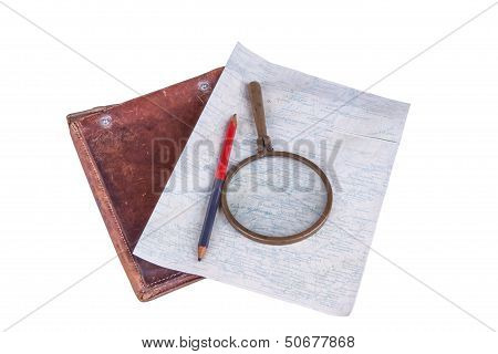 Old-style Home-made Map With Magnifier, Pencil And Leather Case
