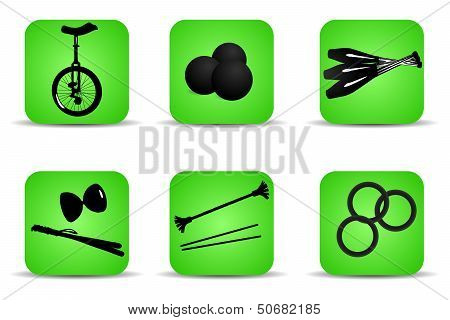 Set of flat icons for different kinds of juggling poster