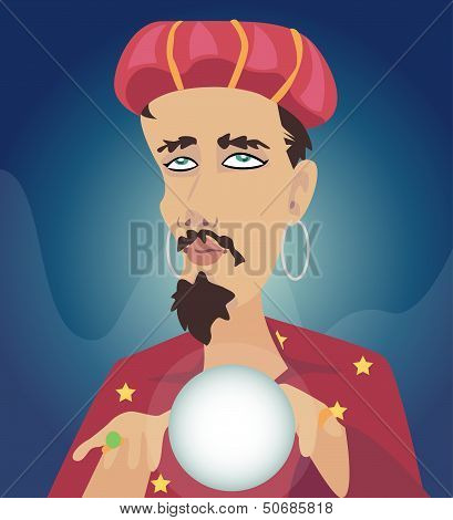 Men with Crystal Ball Seer fortune. Wizard fortune. poster