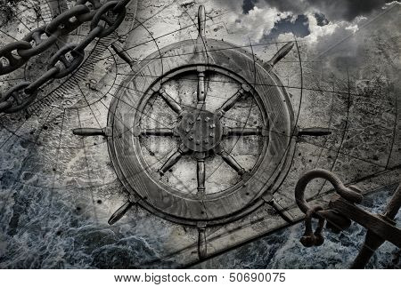 Vintage Navigation Background Illustration With Steering Wheel, Charts, Anchor, Chains
