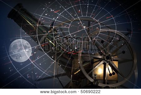 Astronomical Abstract Background With Star Map, Old Telescope And Moon