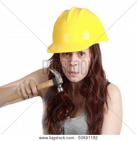 Girl Using A Hammer