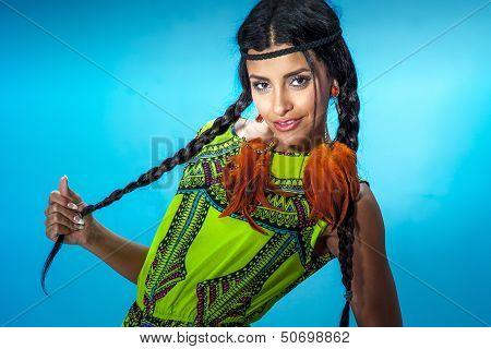 Portrait Of Beautiful Brunette Multiethnic Girl.