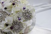 A home made  elegant bridal brooch bouquet poster
