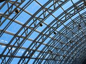 Structures of skylight glass roof window and blue sky poster
