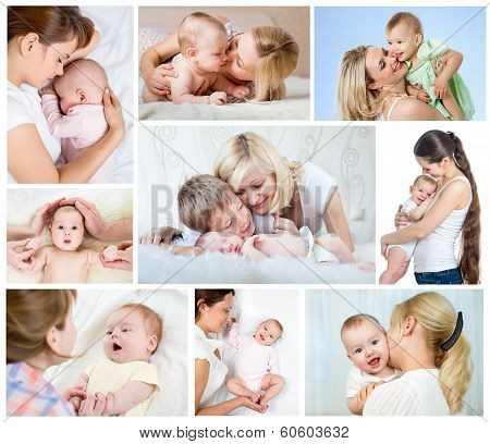Collage Mother's Day Concept. Loving Moms With Babies. poster