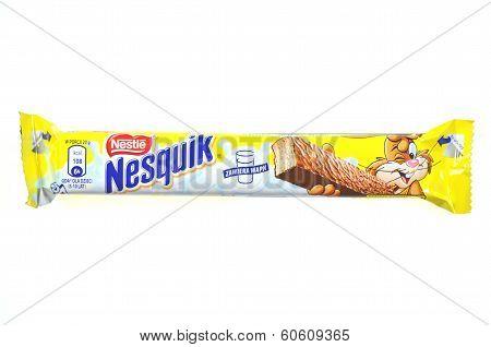 Nesquik chocolate bar isolated on white background