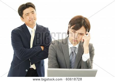 Dissatisfied Asian businessmen