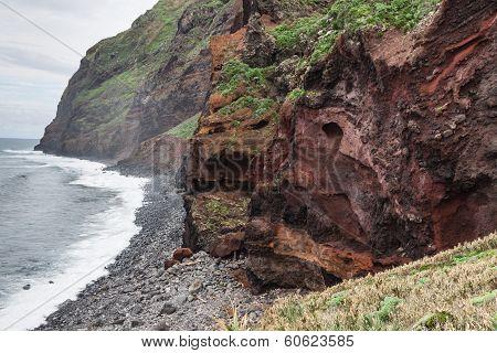 View of beautiful mountains and ocean on northern coast near Boaventura Madeira island Portuga