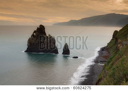 View of beautiful mountains and ocean on northern coast near Boaventura Madeira island Portugal