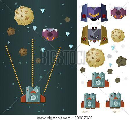 space ship game asset vector