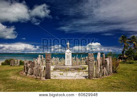 Statue and memorial to missionaries on a remote Pacific Island