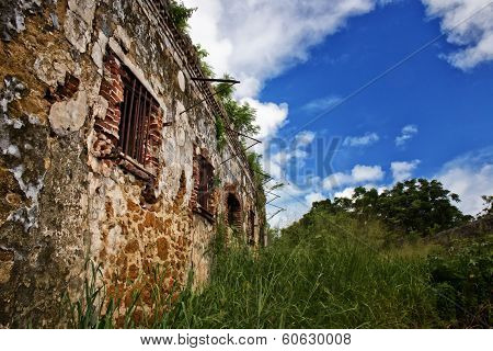 Ruins of a prison on a remote tropical island