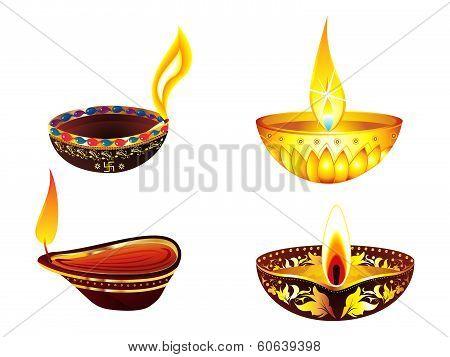 Abstract Artistic Golden Deepak Set