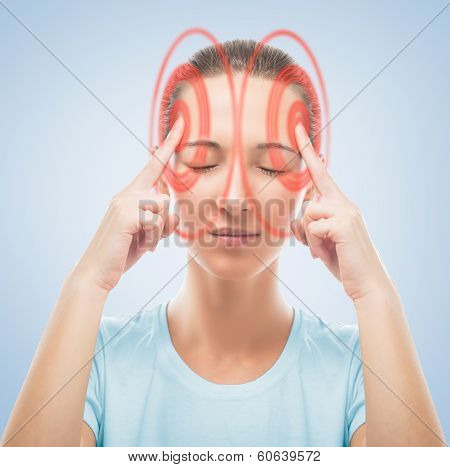 Woman Touches Her Head, The Temporal Region Of Red Color