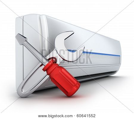 air-conditioner on white background (done in 3d) poster