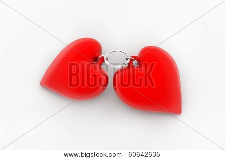 Two linked to each other in the form of the castle of hearts