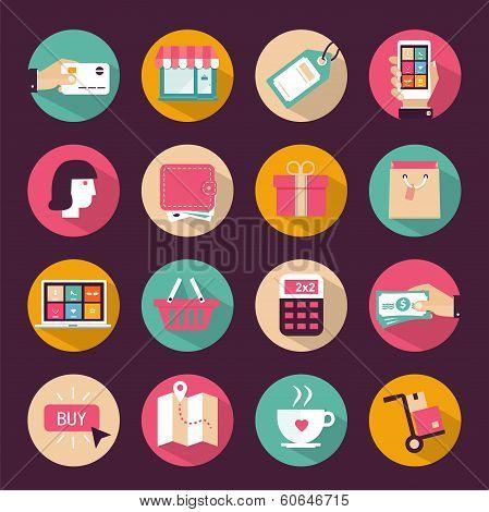 Set of flat style shopping icons