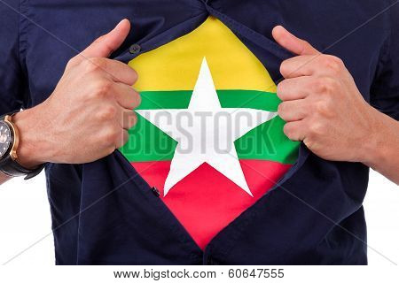 Young Sport Fan Opening His Shirt And Showing The Flag His Country Birmania , Birman Flag